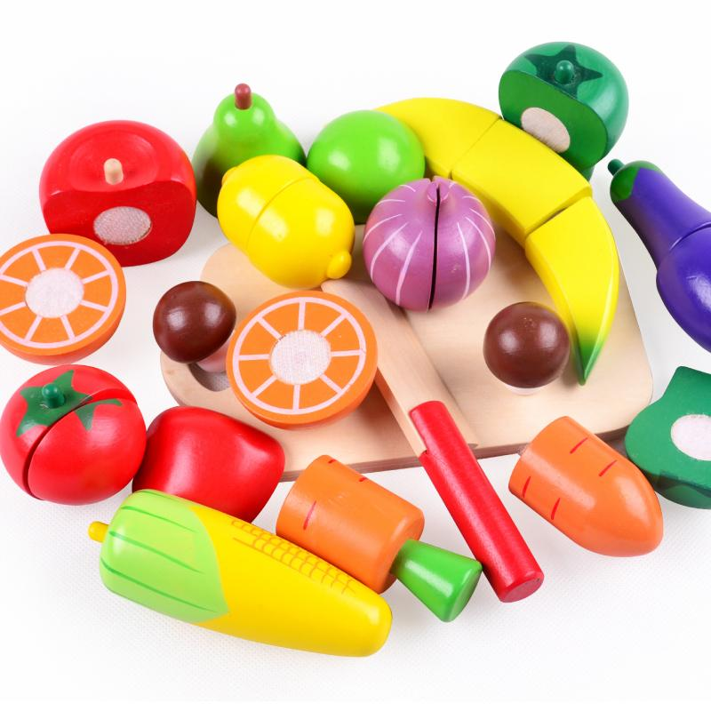 Play Food Toys : Wooden kitchen toys cutting fruit vegetable play food