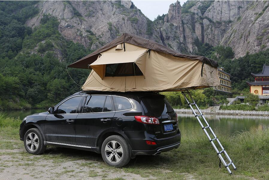 Outdoor Camping Tent Traveling By Car The Soft Top Canvas