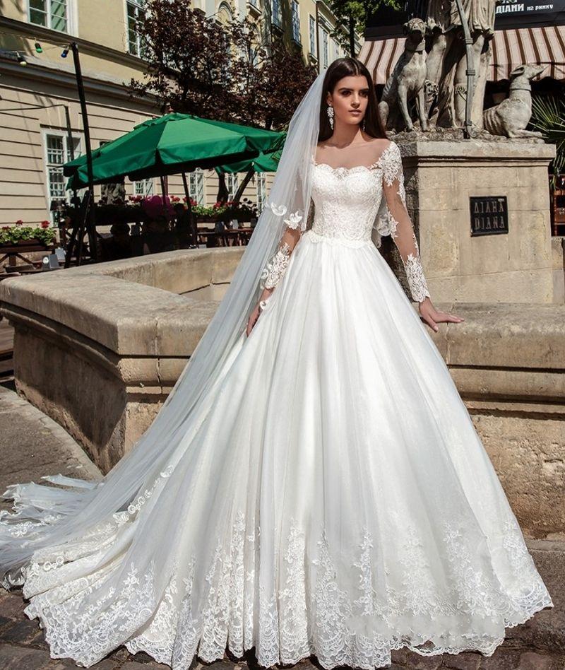 Illusion Long Sleeve Pretty Wedding Dresses Ball Gown
