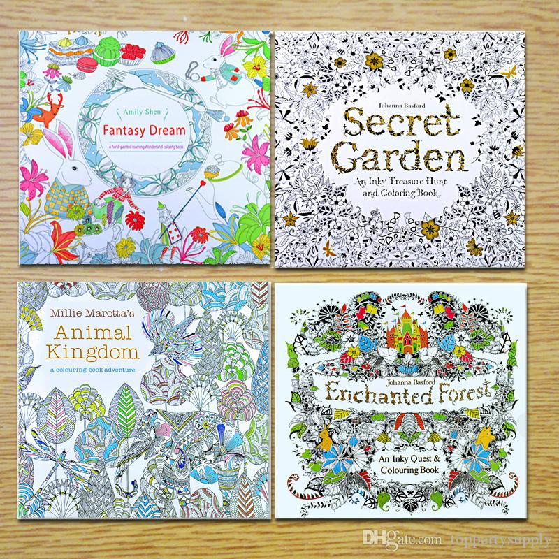 24 Pages Coloring Book Mixed Styles Relieve Stress For Kids Adult Fantasy Dream Painting Drawing Secret Garden Kill Time Stock With Fast