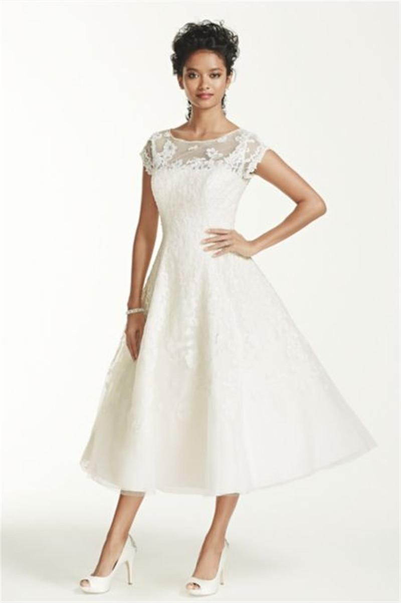 Discount ankle length cap sleeve illusion wedding dress for Ankle length wedding dress with sleeves