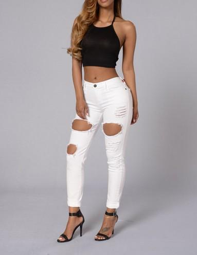 White Ripped Jeans 2016 Hot Summer Women Mid Waist American ...