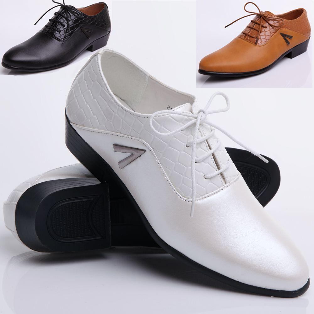 2015 black and white leather shoes wedding show s
