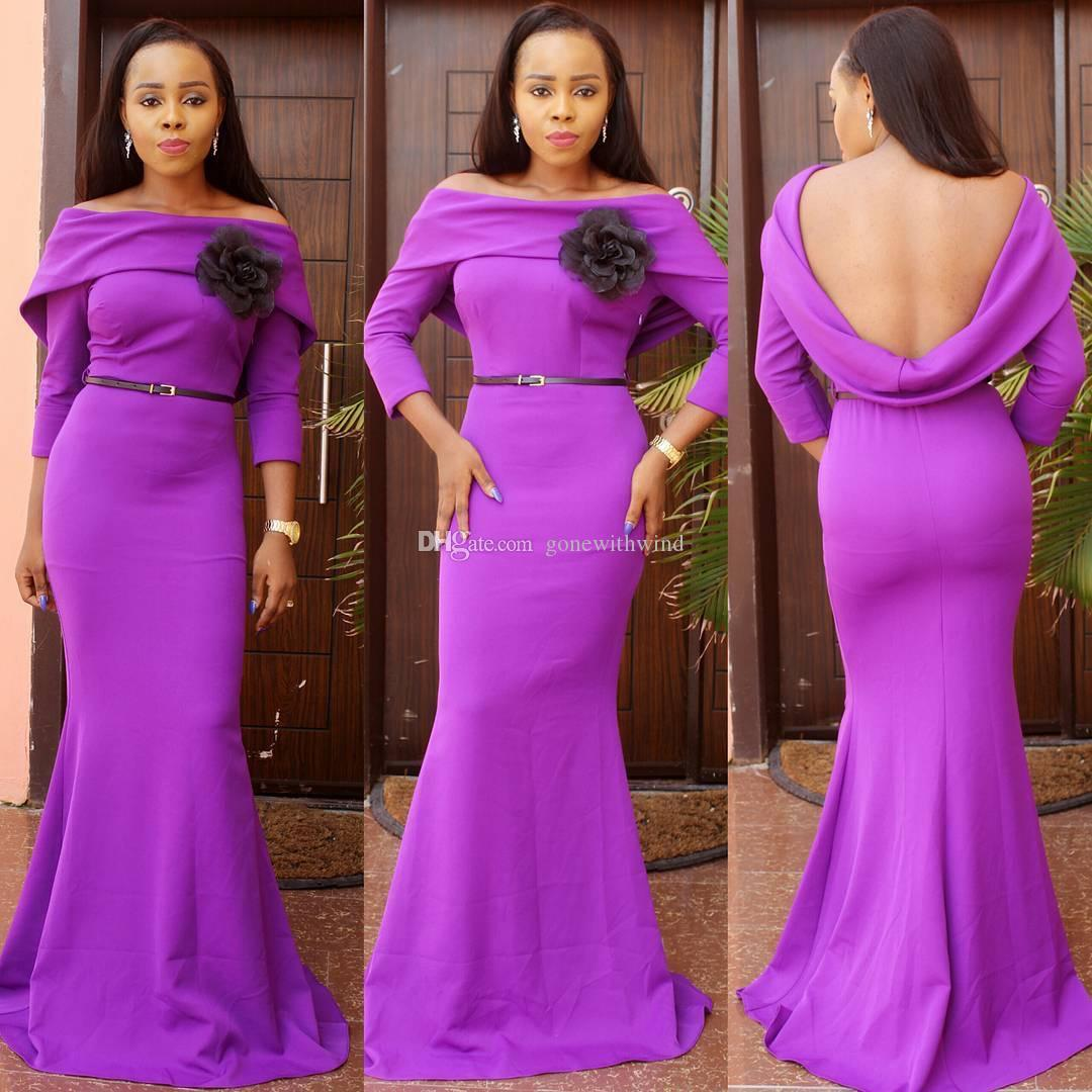 2016 african wedding guest dresses long sleeves bridal outfits purple