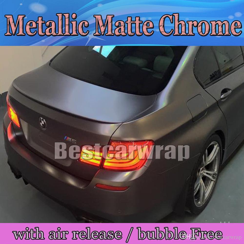 Anthracite matte metallic vinyl wrap with air bubble free dark grey gunmetal matt chrome metallic vehicle wrapping size 1 52x20m 5x66ft car styling 3m