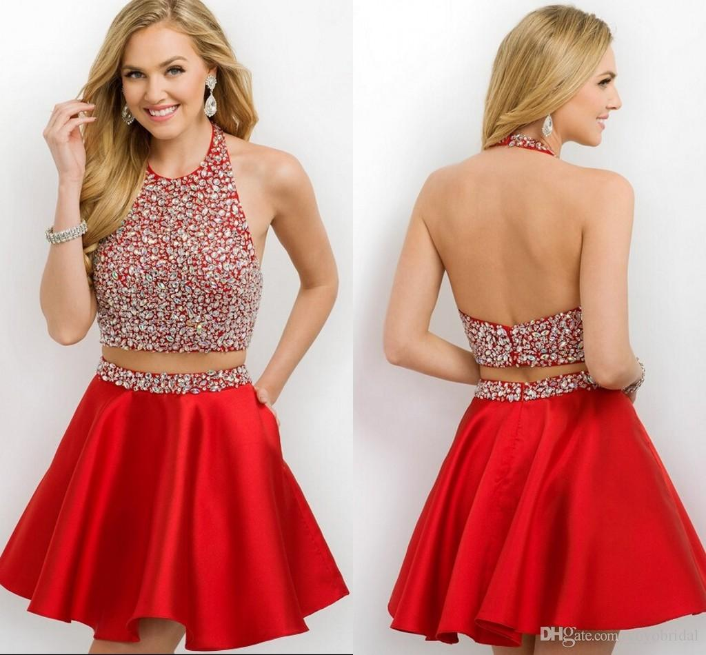 Sexy Backless Red Cocktail Dresses With Pockets 2016 A Line ...