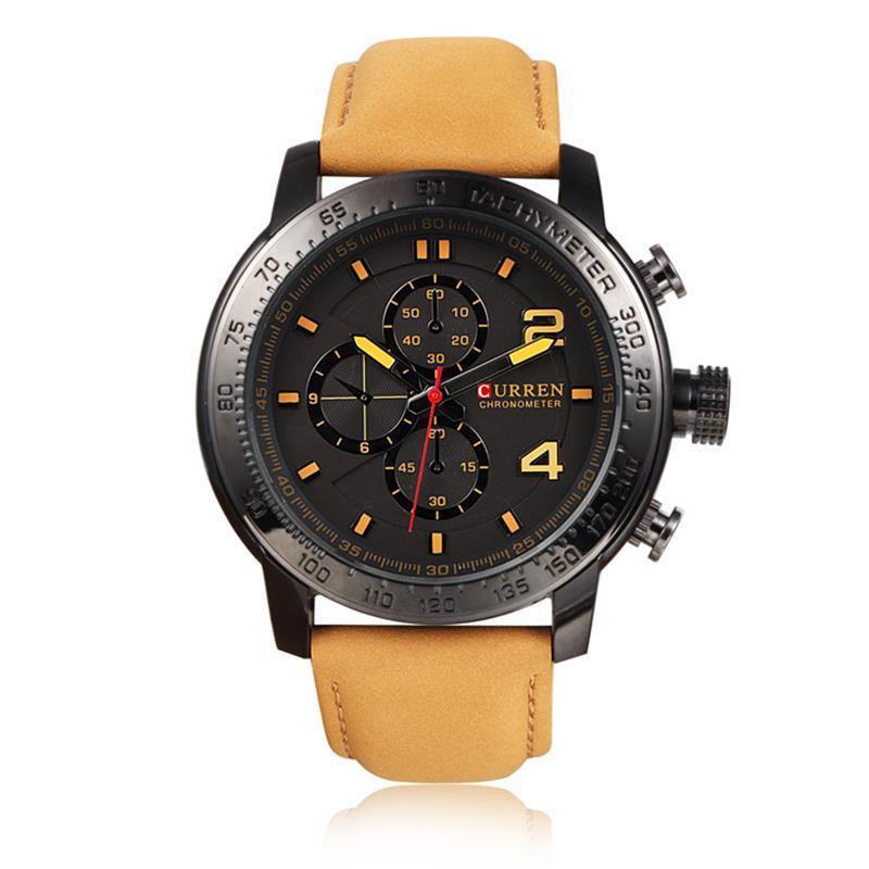 Curren 8190 Masculino Watches Scrub Belt Watchband Three Eye Watches Fashion Leisure Quartz