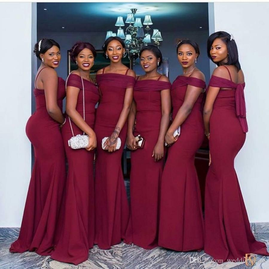 Cheap burgundy mermaid bridesmaids dresses spaghetti straps black cheap burgundy mermaid bridesmaids dresses spaghetti straps black girl wedding guest dress floor length maid of honor gowns country bridesmaid dresses cheap ombrellifo Image collections