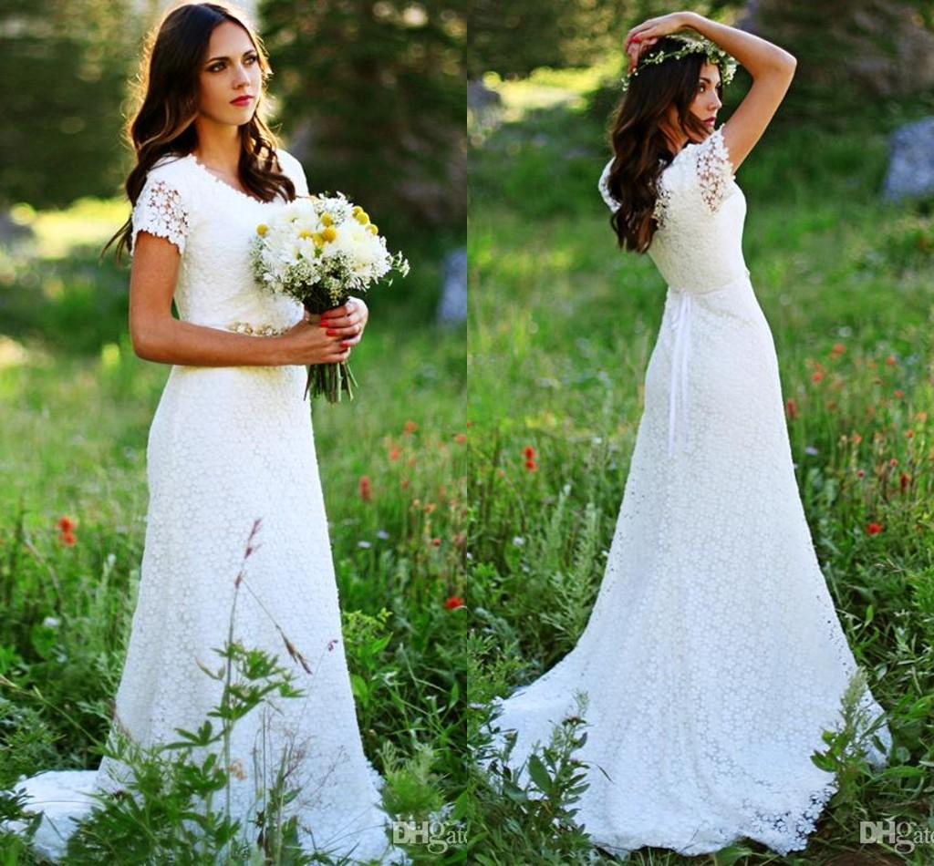 Discount 2016 Bohemian Beach A Line Lace Simple Style