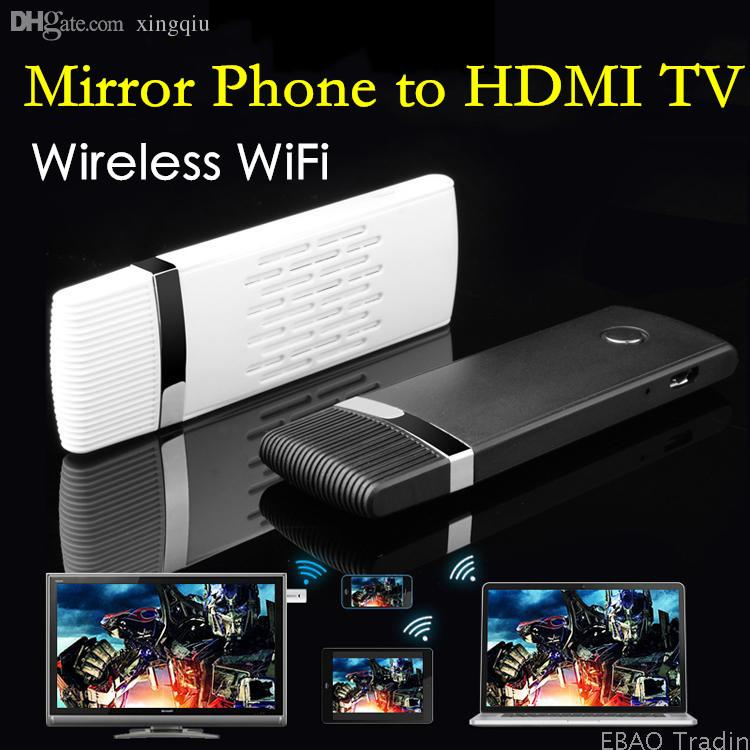 Wholesale wireless wifi mirror video to hdmi hdtv tv for Mirror iphone to tv