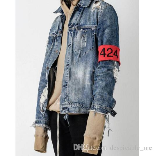 four two four 424 denim jacket jeans men hiphop broken hole ripped zipper jeans men brand