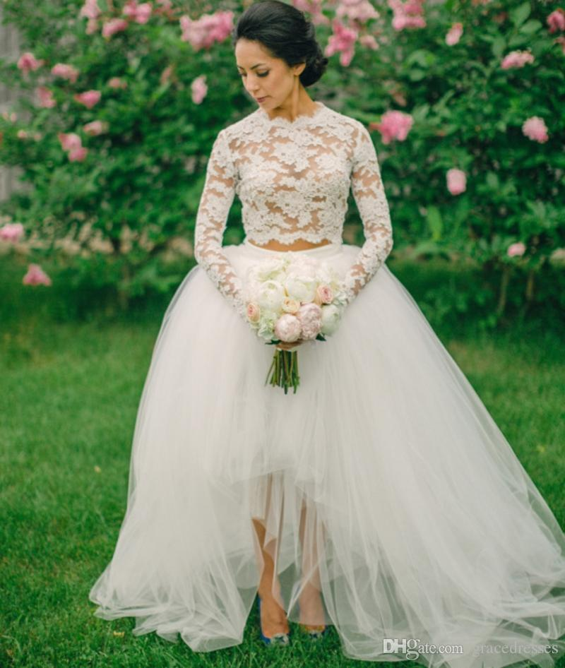 Two pieces high low wedding dresses high neck illusion for Long sleeve high low wedding dresses