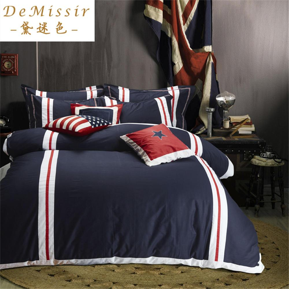 Usa flag cotton bedding set king queen size set duvet for Housse de couette king size