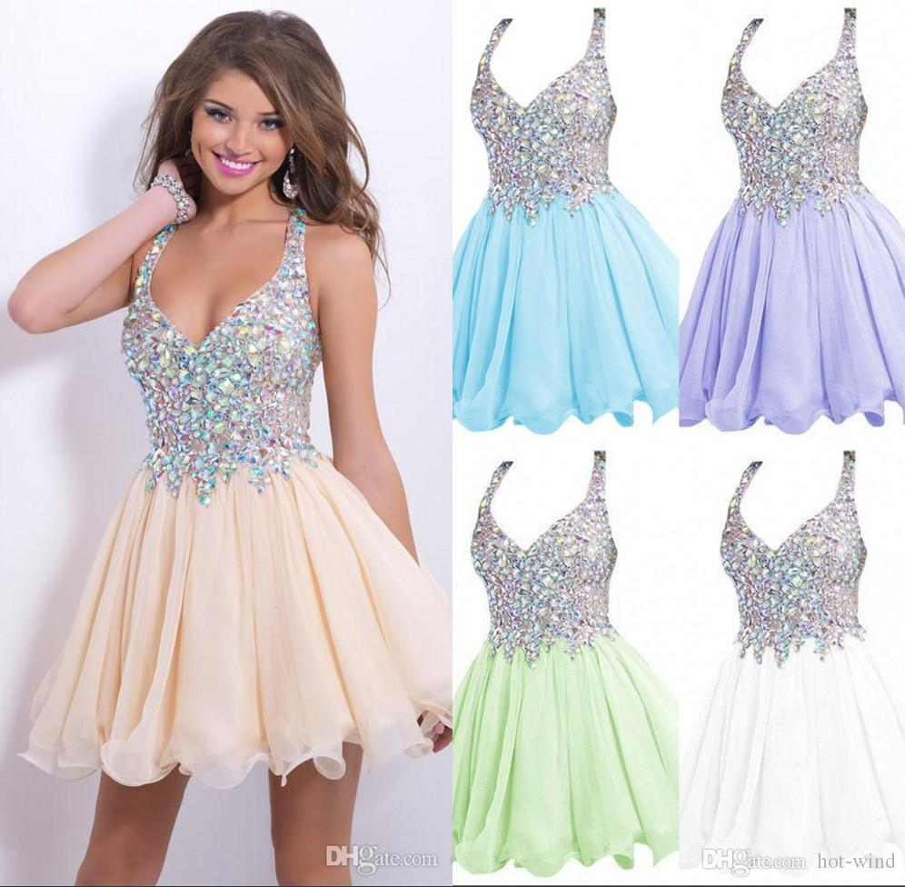 Only 59$ Cheap In Stock Short Homecoming Dresses Beaded Crystals ...