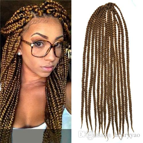 Crochet Box Braids Medium : Large 100g 14 Strands Medium Brown Box Braids Crochet Twist Braiding ...