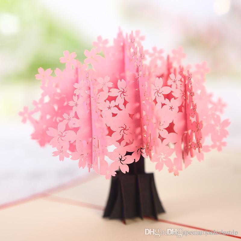 flowerpot kirigami cherry tree diy 3d pop up laser cut