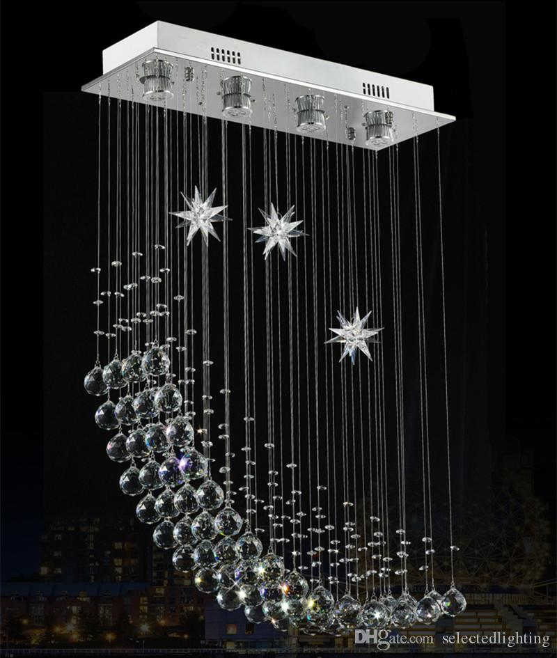 Modern Rectangular Crystal Chandelier Rain Drop