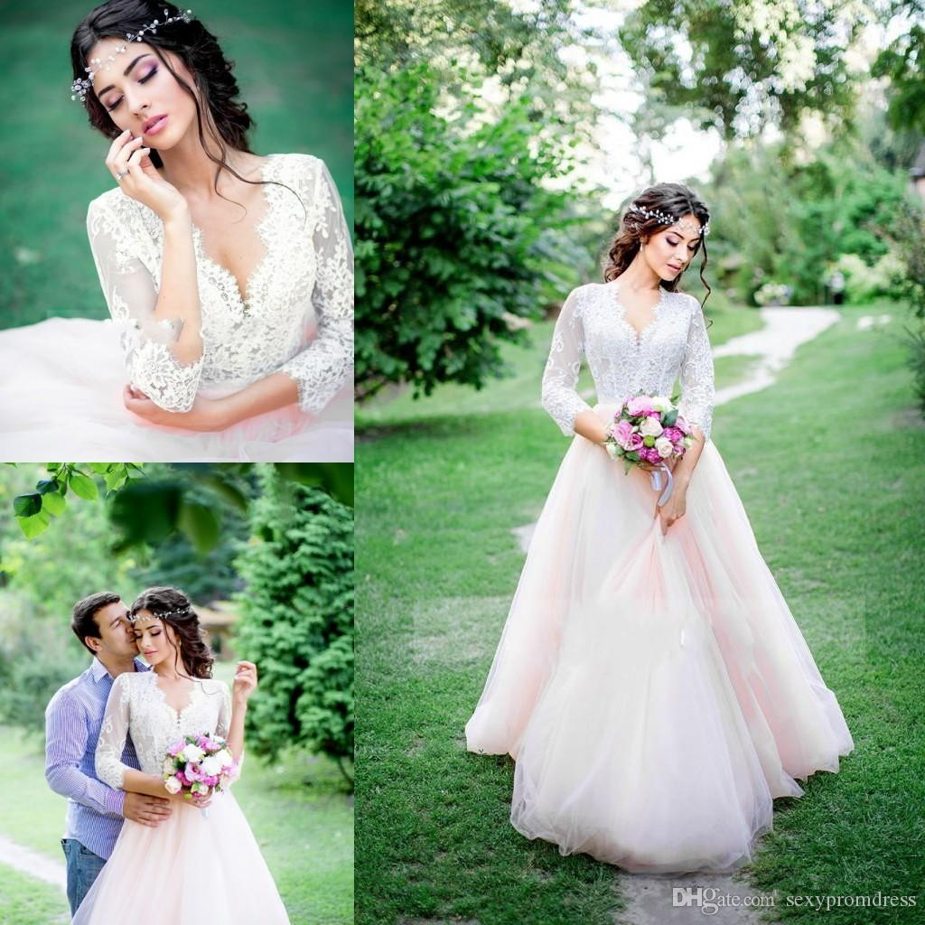 Discount White And Light Pink Wedding Dresses Lace V Neck