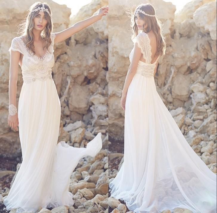 Unique design beaded beach wedding dresses 2016 sexy v for Unusual wedding dresses for sale