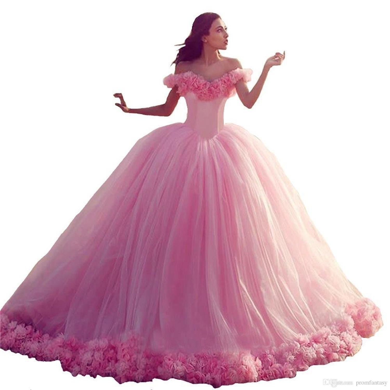 Beach Pink Wedding Dresses Puffy Ball Gown Luxury Ruffles