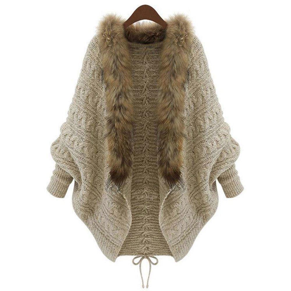 Summer Cardigan Sweater Women Poncho Fur Collar Batwing Sleeve ...