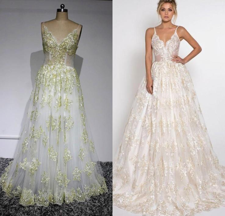 2016 sexy beach wedding dresses sparkly gold lace applique for Sparkly beach wedding dresses