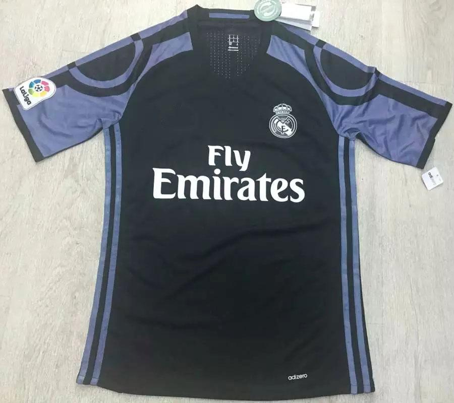 2017 player version real madrid 3rd soccer jerseys black for Cheap football shirts sports direct