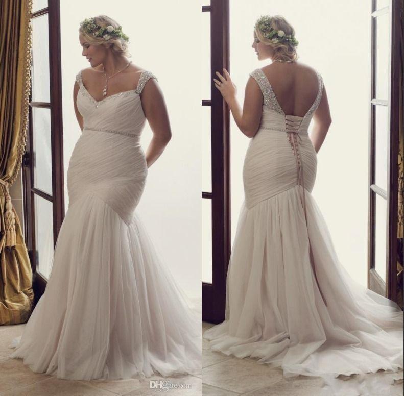 Plus size mermaid wedding dresses lace up fitted for Fitted wedding dresses for plus size