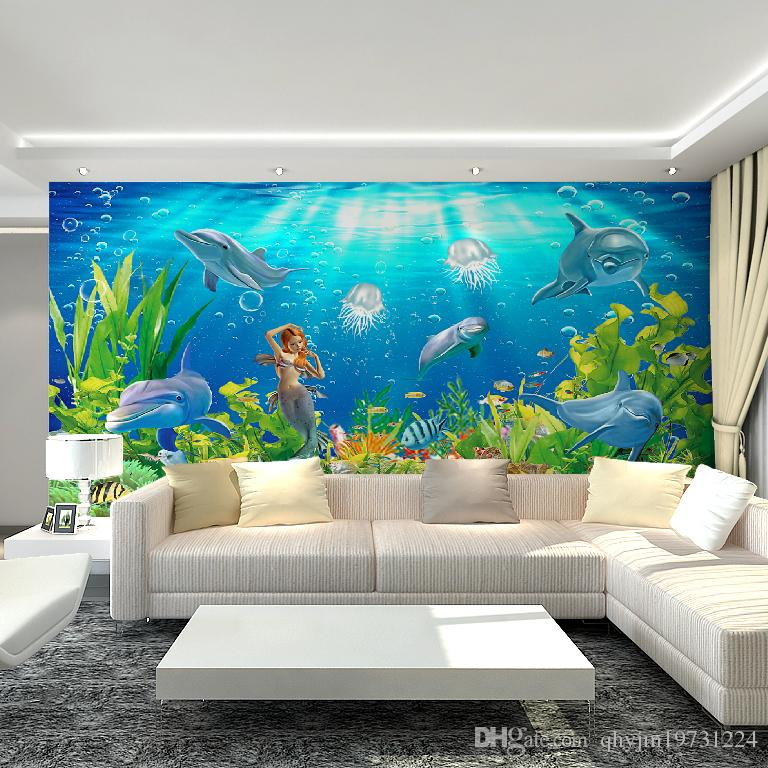 3d underwater world mural art deco interior non woven wallpaper dolphins and mermaids large. Black Bedroom Furniture Sets. Home Design Ideas