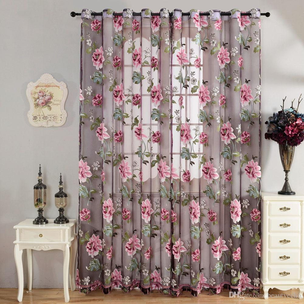 270cm x 100cm Sheer Curtains Door Room Flower Tull Window Screening Curtain  Drape for Bathroom Living Room w. Window Screen Flowers Online   Window Screen Flowers for Sale