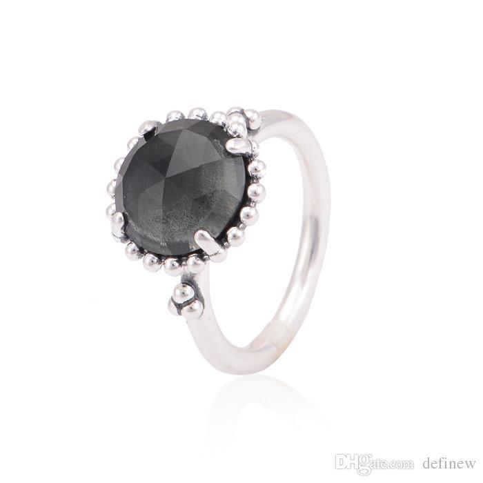 2017 Crown Silver Black Gemstone Rings 925 Ale Sterling
