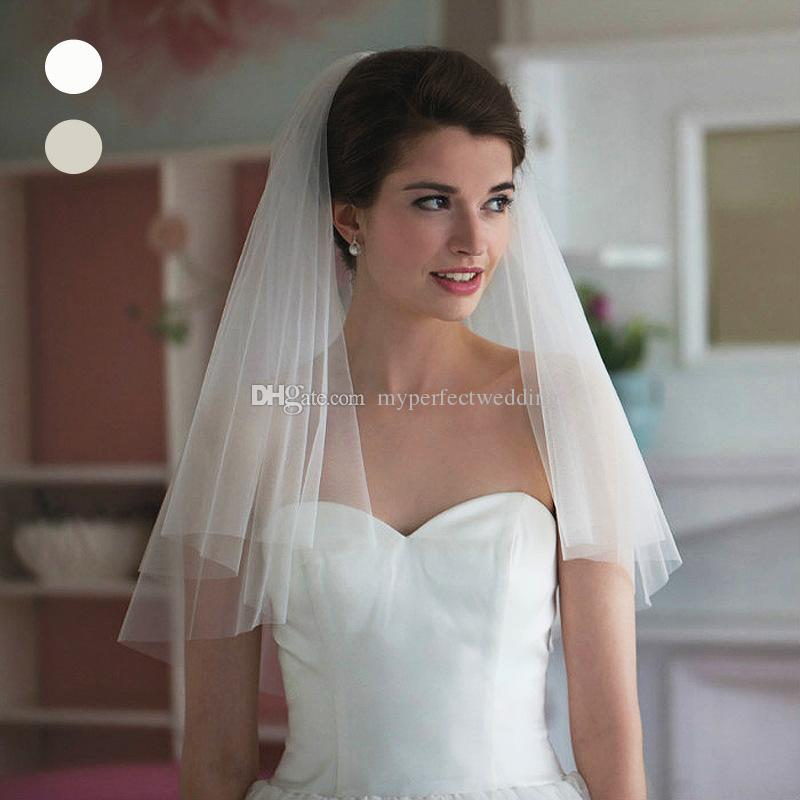 Cheap Price White Ivory Bridal Veil With Comb High Quality Soft Tulle Pure Cut Edge Shoulder Length Two Layer Wedding