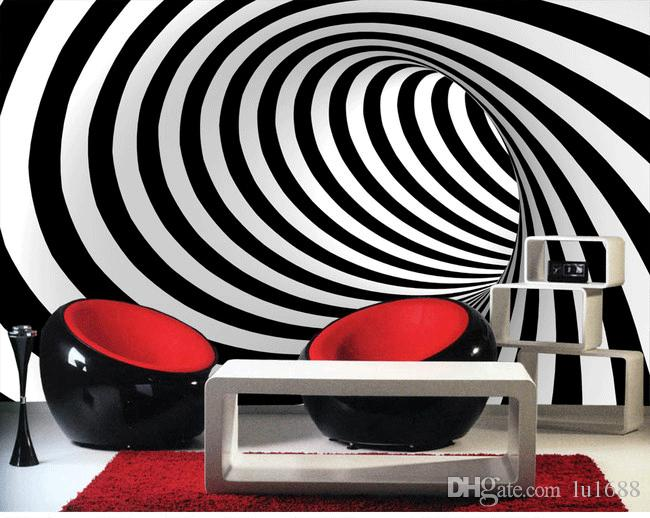 3d Abstract Art Background Wall Modern Black And White ...