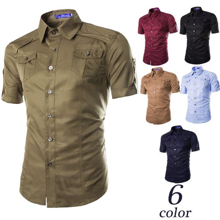 2016 European And American Double Pocket Shirt Short Sleeve Shirt ...