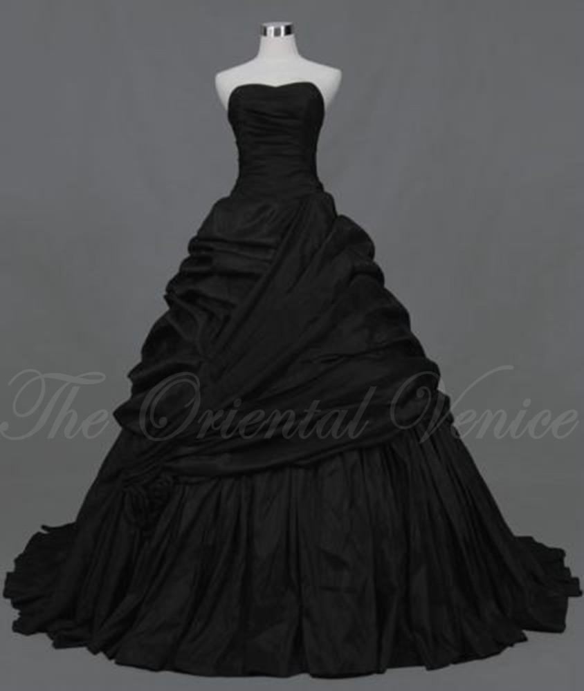 Black corset gothic wedding dress 2016 vestidos de novia for Black corset wedding dresses
