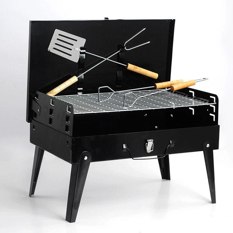 Portable Bbq New Folding Portable BBQ Grill Steel Camping Oven Charcoal  Grill Shawarma Machine With Barbecue Fork/Shovel/Clip/Meshes Shawarma  Machine ...