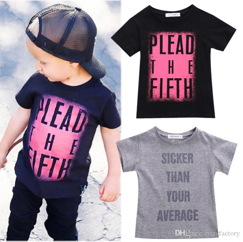 2017 Fashion Design Boys Tshirt Kids Toddler Baby Boy Summer Cool Tees Words Printed Top T Shirt ...
