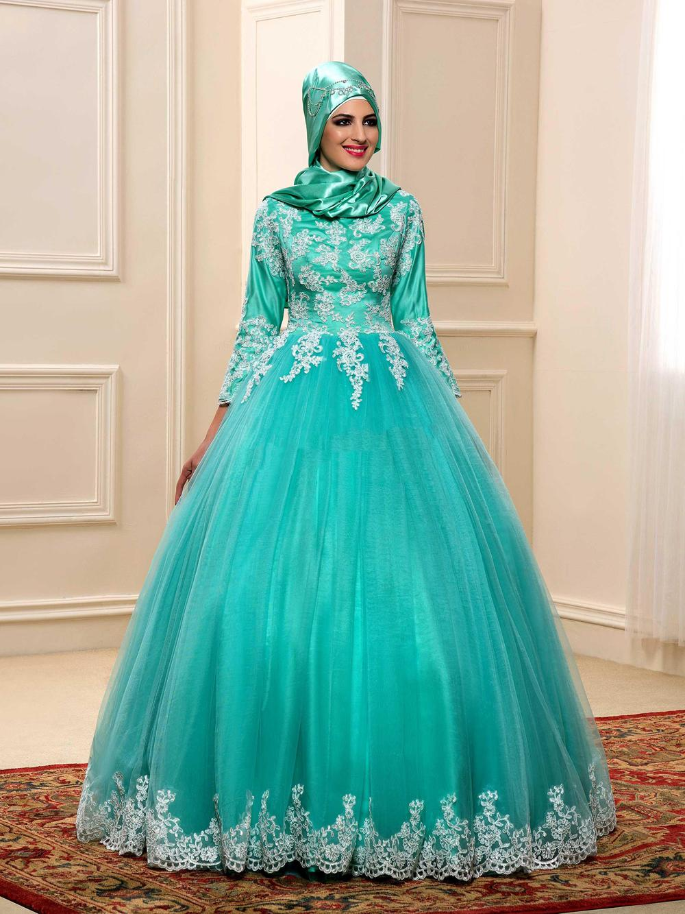 2016 muslim color wedding dress with hijab appliques lace for Long sleeve indian wedding dresses