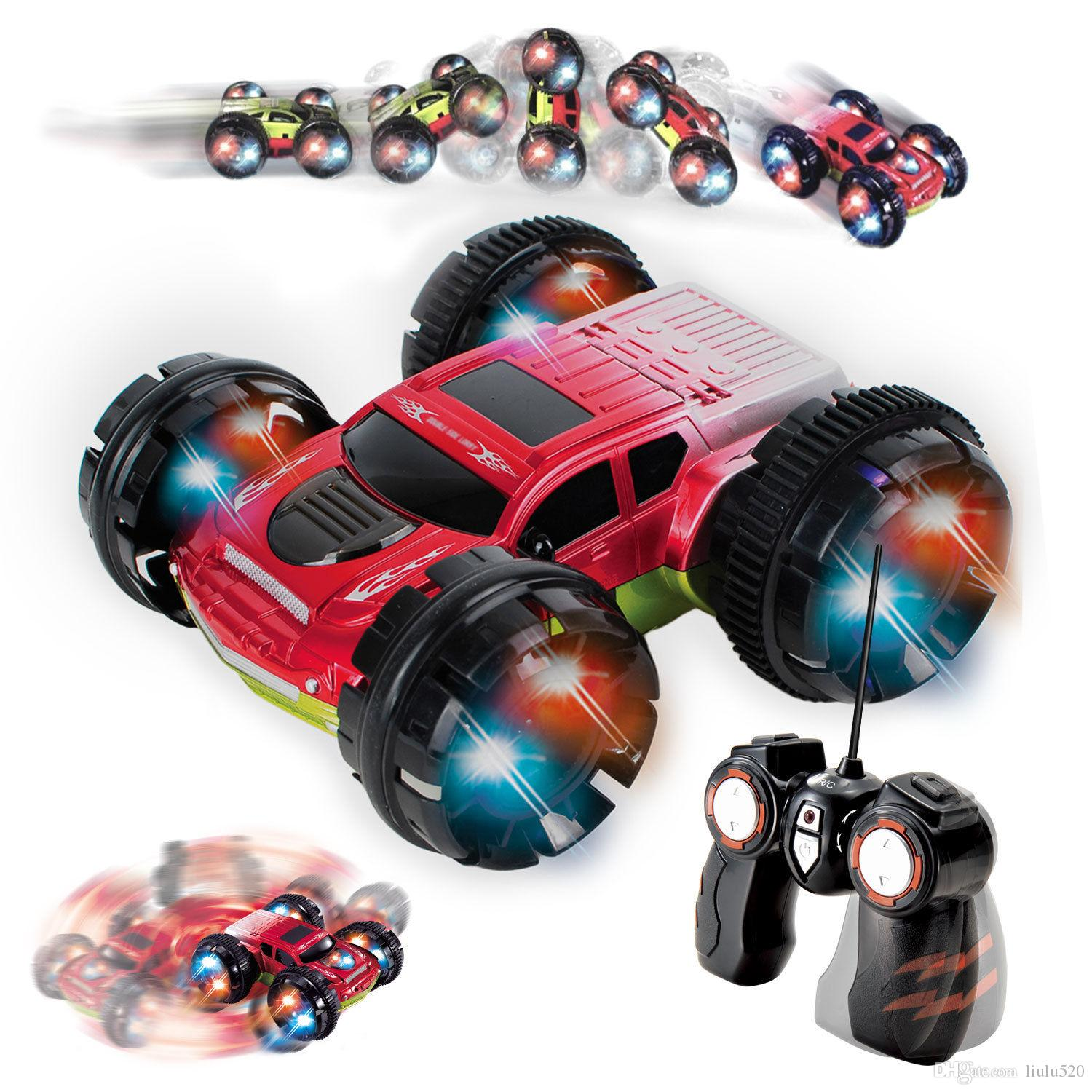 double sided remote control car extreme stunt rc car for kids red