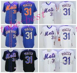 Baseball 31 Mike Piazza Jersey avec 2016 Hall of Fame Patch New York Mets Flexba