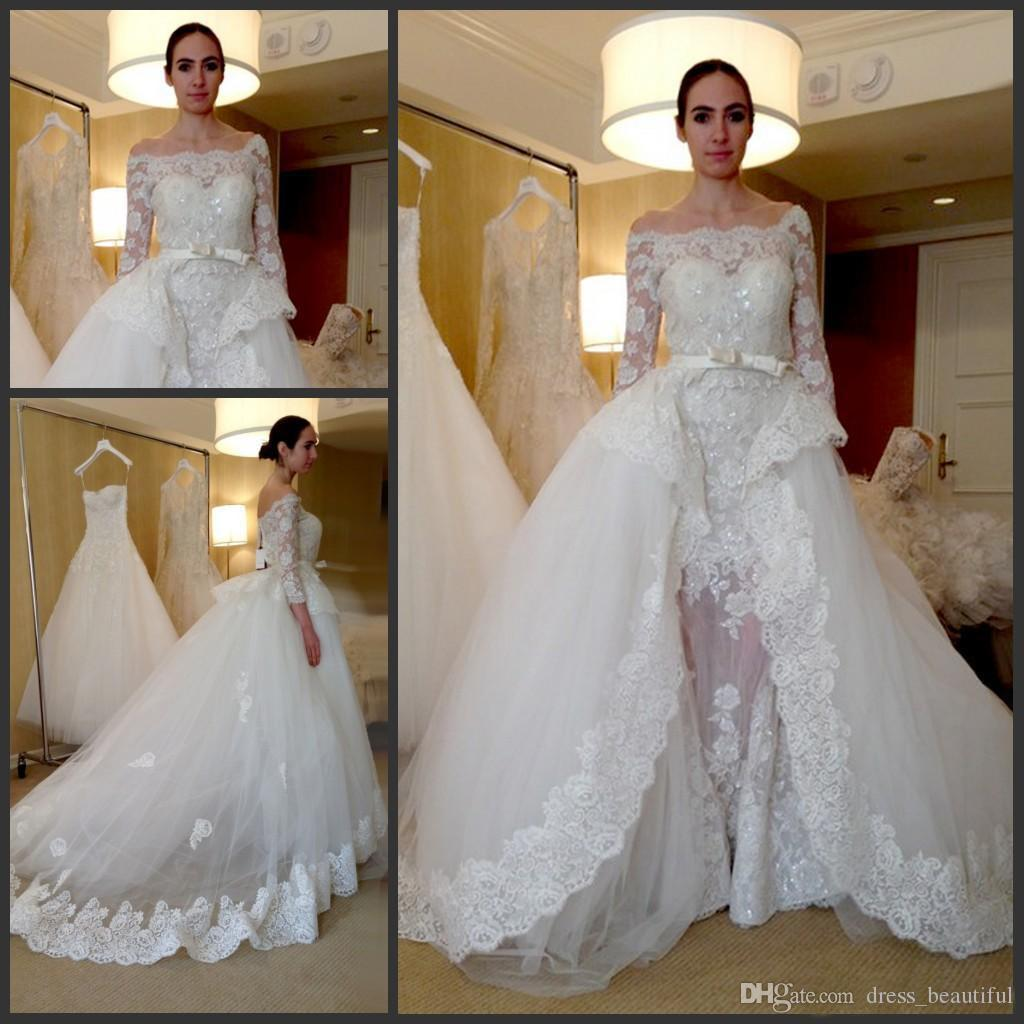 Over skirts wedding dresses elegant bateau neck off the shoulder over skirts wedding dresses elegant bateau neck off the shoulder sheath with detachable skirt 34 sleeves lace applique bridal wedding gown wedding gowns ombrellifo Choice Image