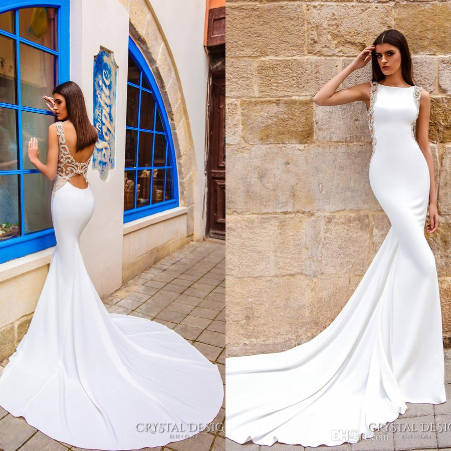 2016 wedding dresses mermaid style sexy jewel neck high for Trumpet wedding dress with long train