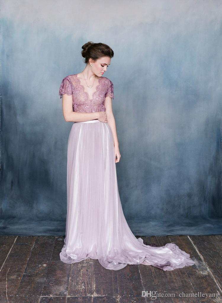 Beach Wedding Dresses In Purple : Spring bohemian beach wedding dresses with sleeves