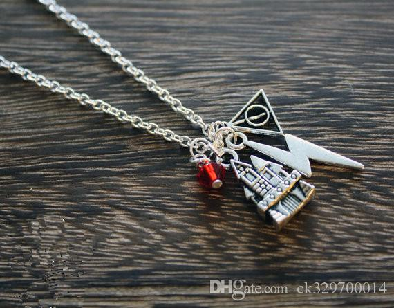 wholesale antique silver hogwarts charm necklace harry