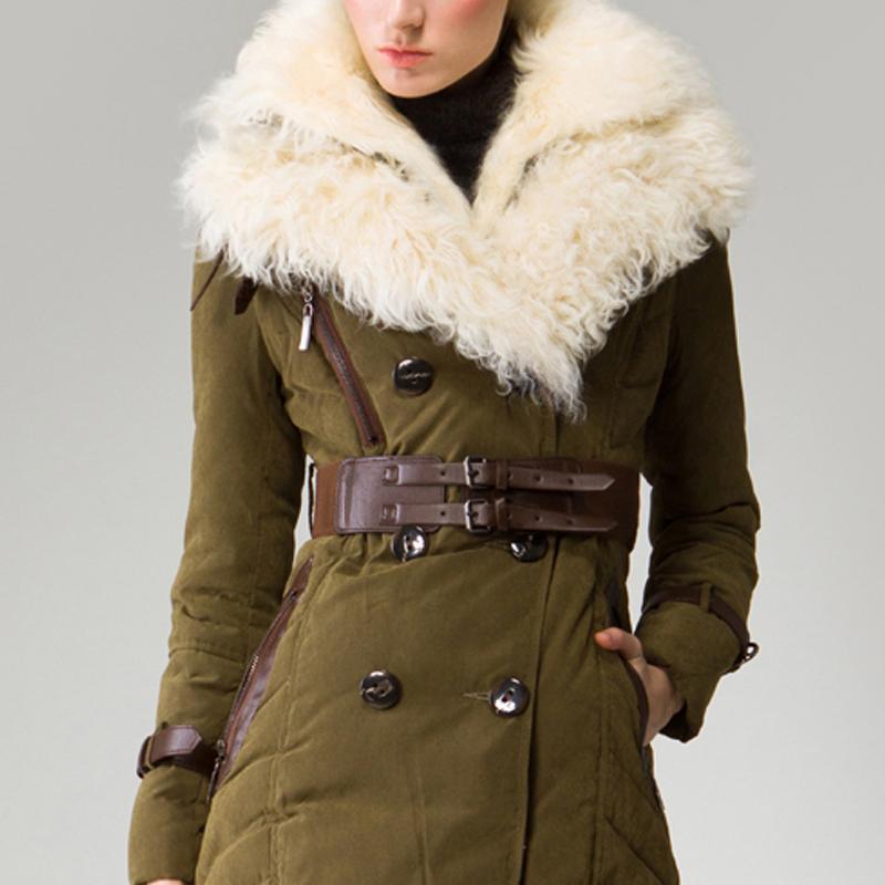 Double Tibet Sheep Fur Collar Jacket Woman Sashes Adjustable Waist ...