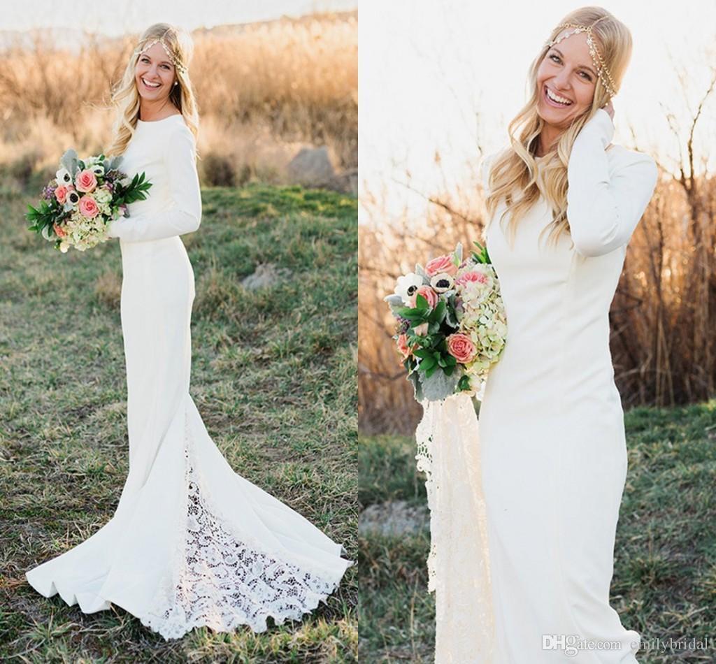 Fall Winter Long Sleeve Wedding Dresses Sheath Crew Neck