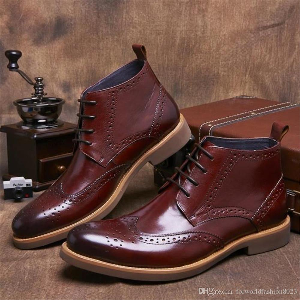 luxury wine mens boots grain leather shoes