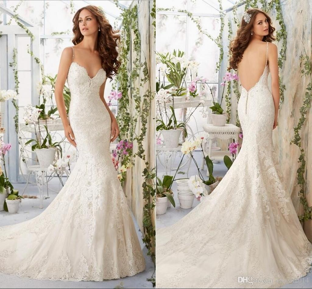 y Low Backless Spaghetti Straps Lace Mermaid Wedding