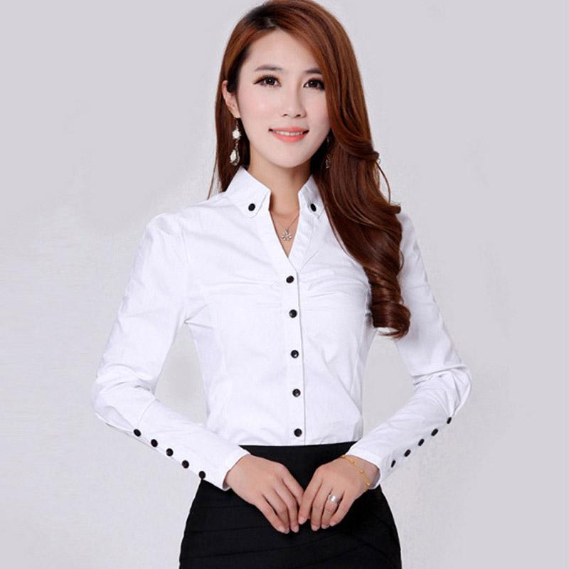 2016 Spring New Women's Formal Shirts Long Sleeve Cotton Shirt ...