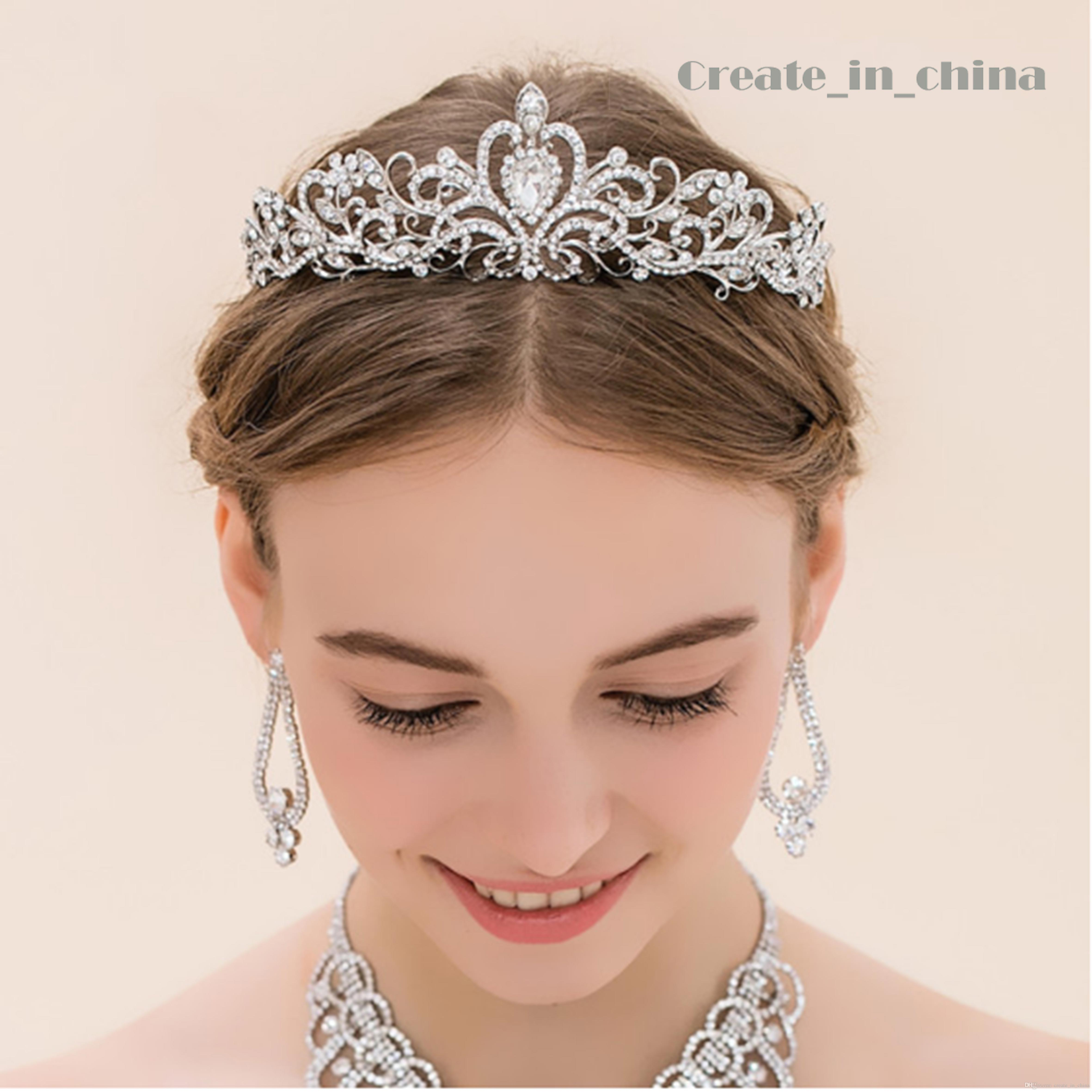 Hair accessories wedding cheap - 2016 Vintage Crystal Tiara Bridal Hair Accessories For Wedding Quinceanera Tiaras And Crowns Pageant Rhinestone Crown Full Crystal C1001 Tiaras Crowns